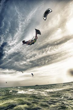 The kite instructor Marco Maschietto flies upside down