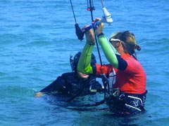 Wet Dreams Kite Instructor with a student in the water